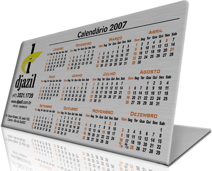 Calendário Metálico - Brindes