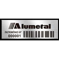 Etiqueta de patrimônio - 45x15mm - Código de Barras - Com fita - cantos retos