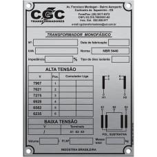 Placas de Transformadores 4 - em alumínio gravado em baixo relevo