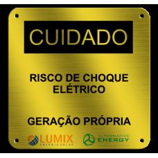 Placa de Identificação - Risco de choque elétrico - 130x130mm